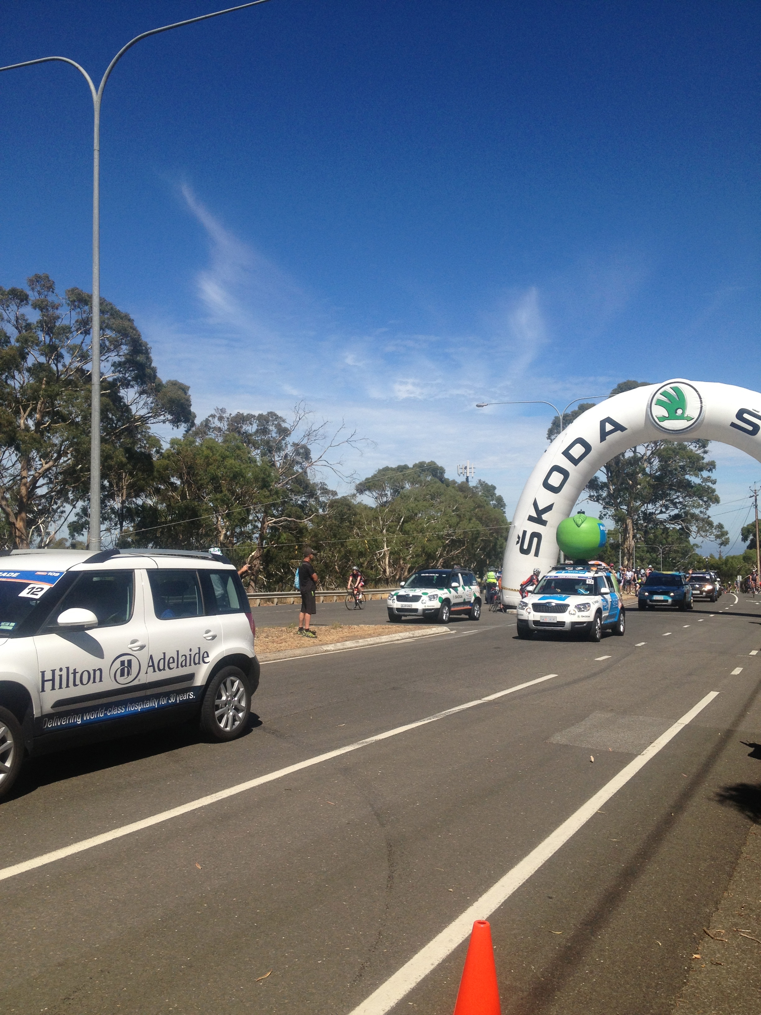 Tour Down Under at the top of The Stirling Climb Adelaide